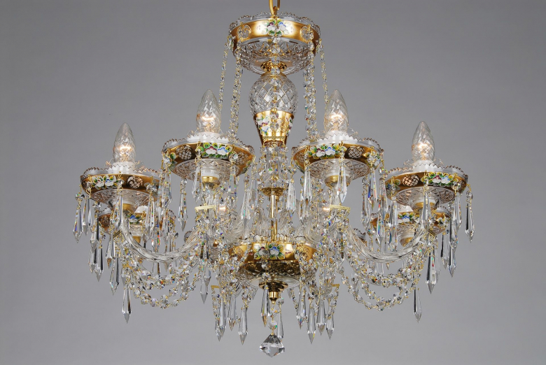 An eight-arm crystal chandelier ornamented with golden components and hand painted flower motif.