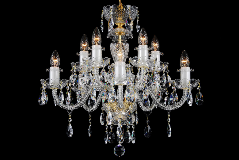 A ten-arm clear crystal chandelier