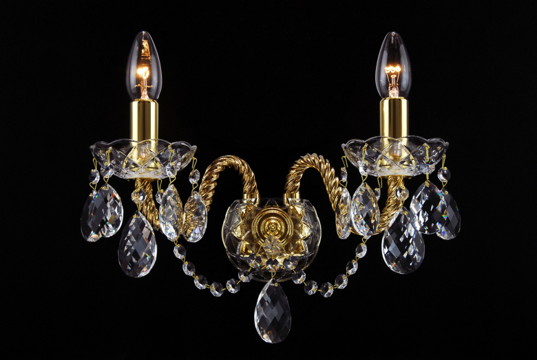 Gold coated crystal wall lamp - 2 arms