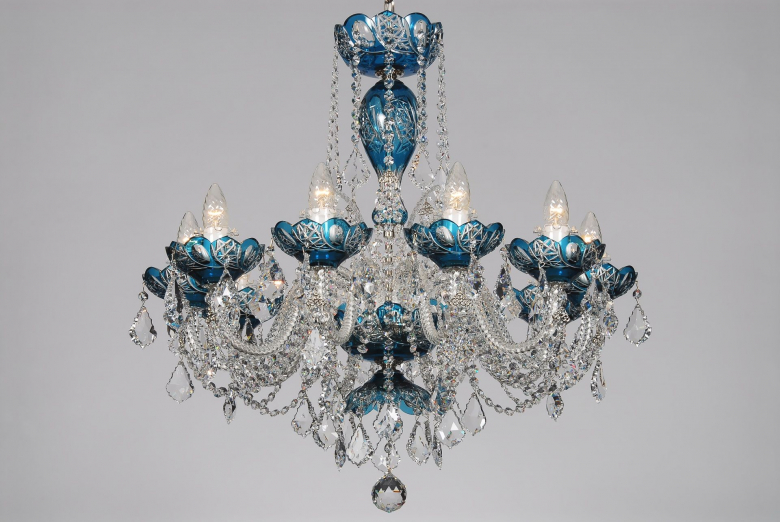 A ten-arm azure crystal chandelier decorated with Swarovski trimmings.
