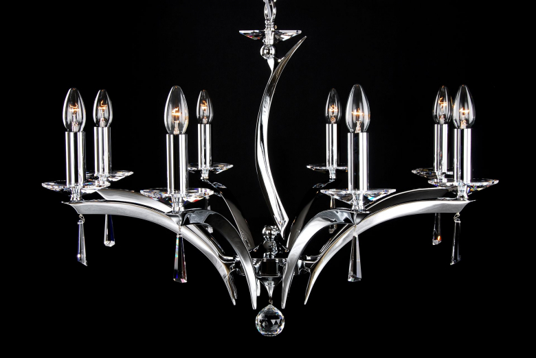 An eight-arm silver coated chandelier is suitable for modern interiors.
