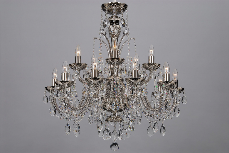 A fifteen-arm coated crystal chandelier in silver colour.