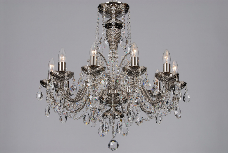 A ten-arm crystal chandelier coated with silver colour.