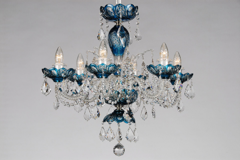 A small azure crystal chandelier decorated with Swarovski trimmings.