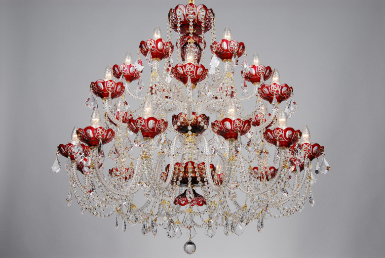 The biggest red crystal chandelier decorated with Swarovski trimmings.