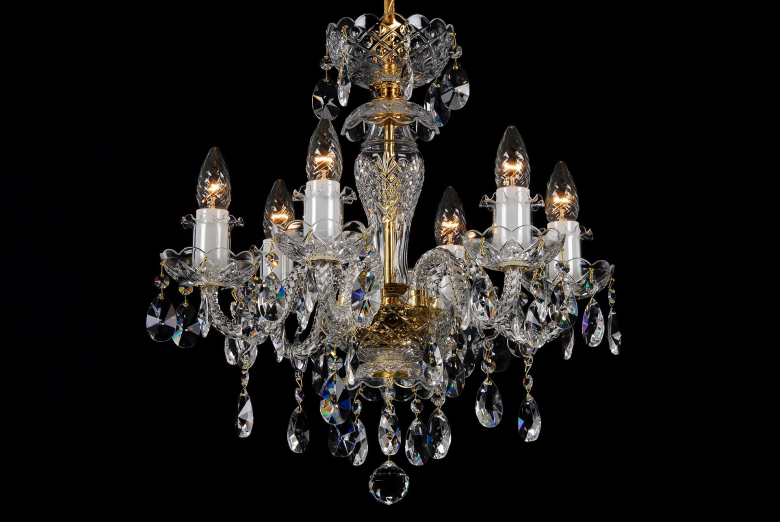 The smallest six-arm clear crystal chandelier.