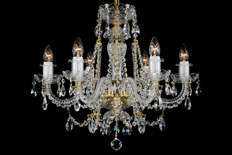 A six-light clear crystal chandelier that can light up your classic interior.