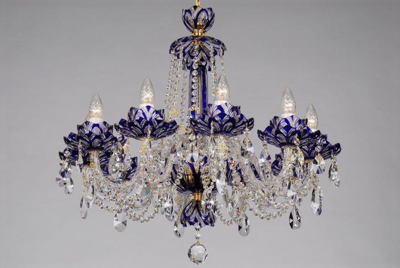 A ten-arm blue crystal chandelier with lotus flower design.