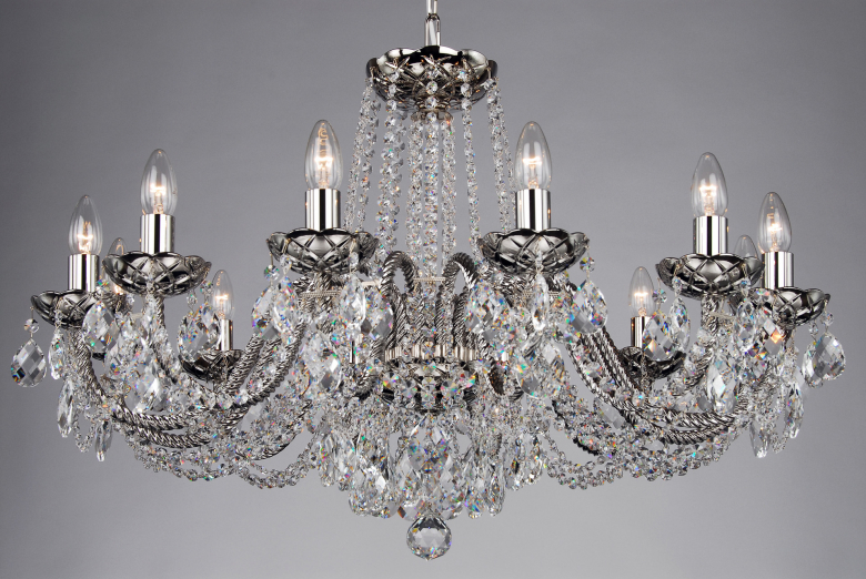 A twelve-arm coated crystal chandelier for low ceilings