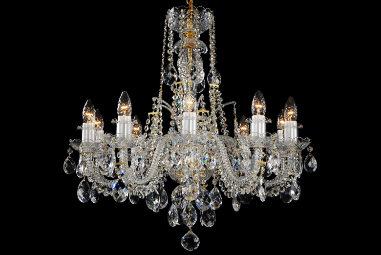 A ten-arm clear crystal chandelier decorated with a high crown.
