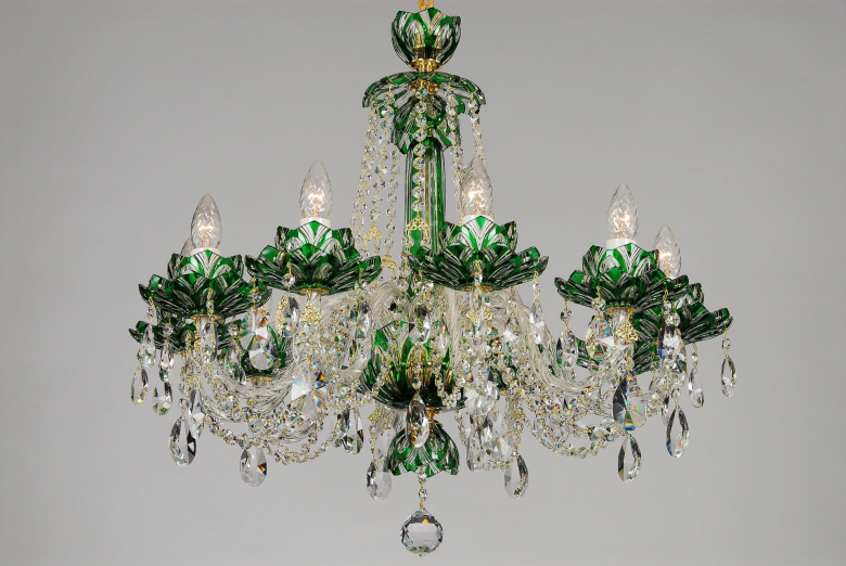 A ten-arm green crystal chandelier with lotus flower design.