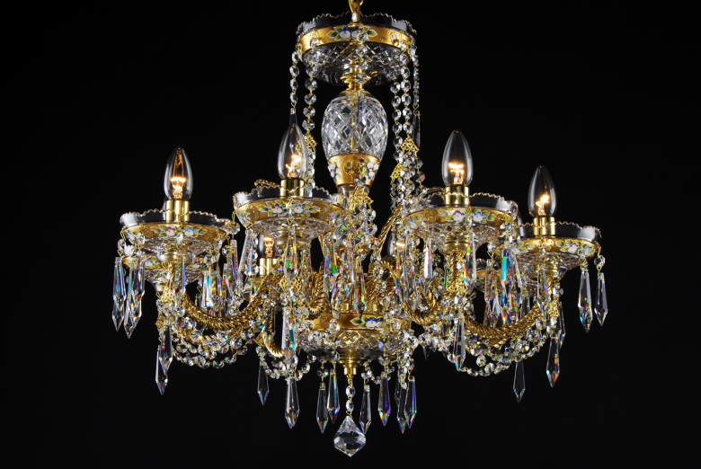 An eight-arm golden crystal chandelier of brilliant shine