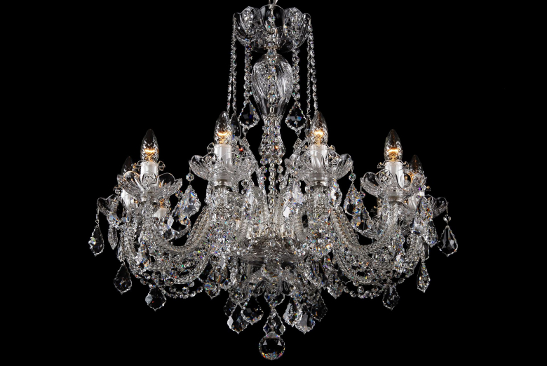 A ten-arm clear crystal chandelier decorated with Swarovski trimmings.