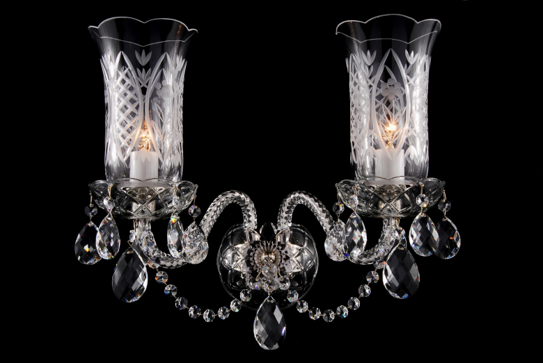 Silver crystal wall lamp with hand cut vases