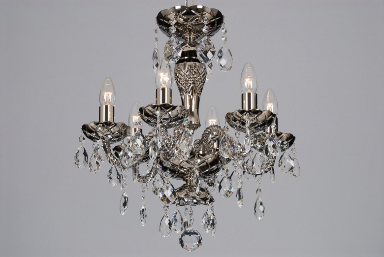 The smallest coated crystal chandelier with silver colour.