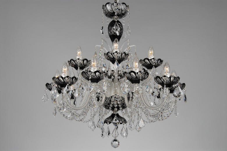 A black crystal chandelier decorated with Swarovski trimmings.
