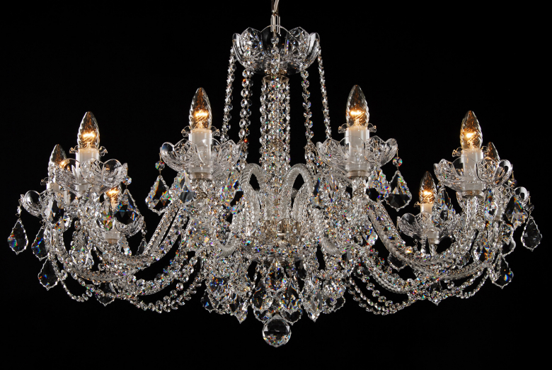 A clear crystal chandelier for low ceiling