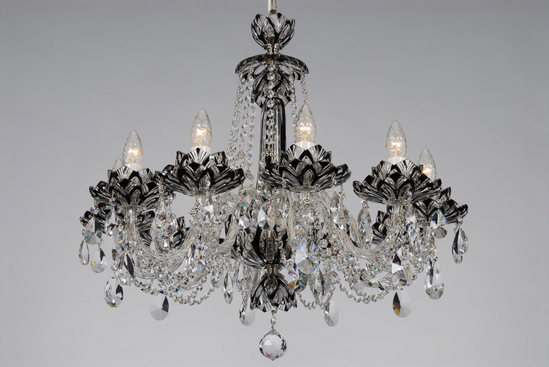A ten-arm black crystal chandelier with lotus flower design.