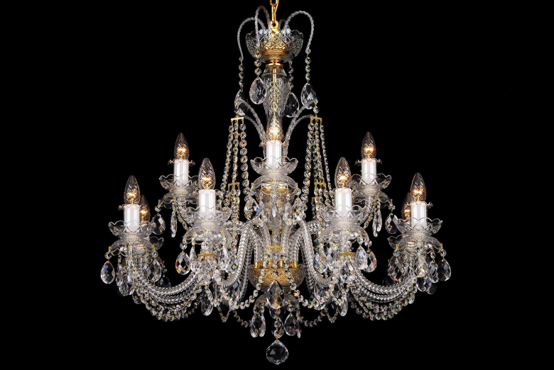 A clear crystal chandelier with double bobeches in the shape of an hourglass.