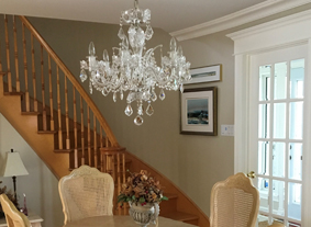 Crystal chandelier CH-06 Galaxy-crystal SPS upon dining table