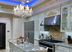 Crystal chandelier in luxury kitchen, Los Angeles, USA