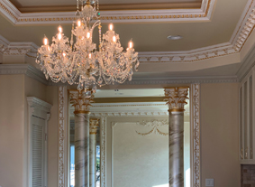 Crystal chandelier in beautiful villa with antique elements, Los Angeles, USA