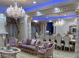 Galaxy crystal chandelier in luxury classic kitchen, LA