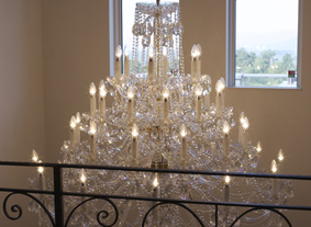 Crystal chandelier CH-42 Crystal-XLS in a staircase hallway
